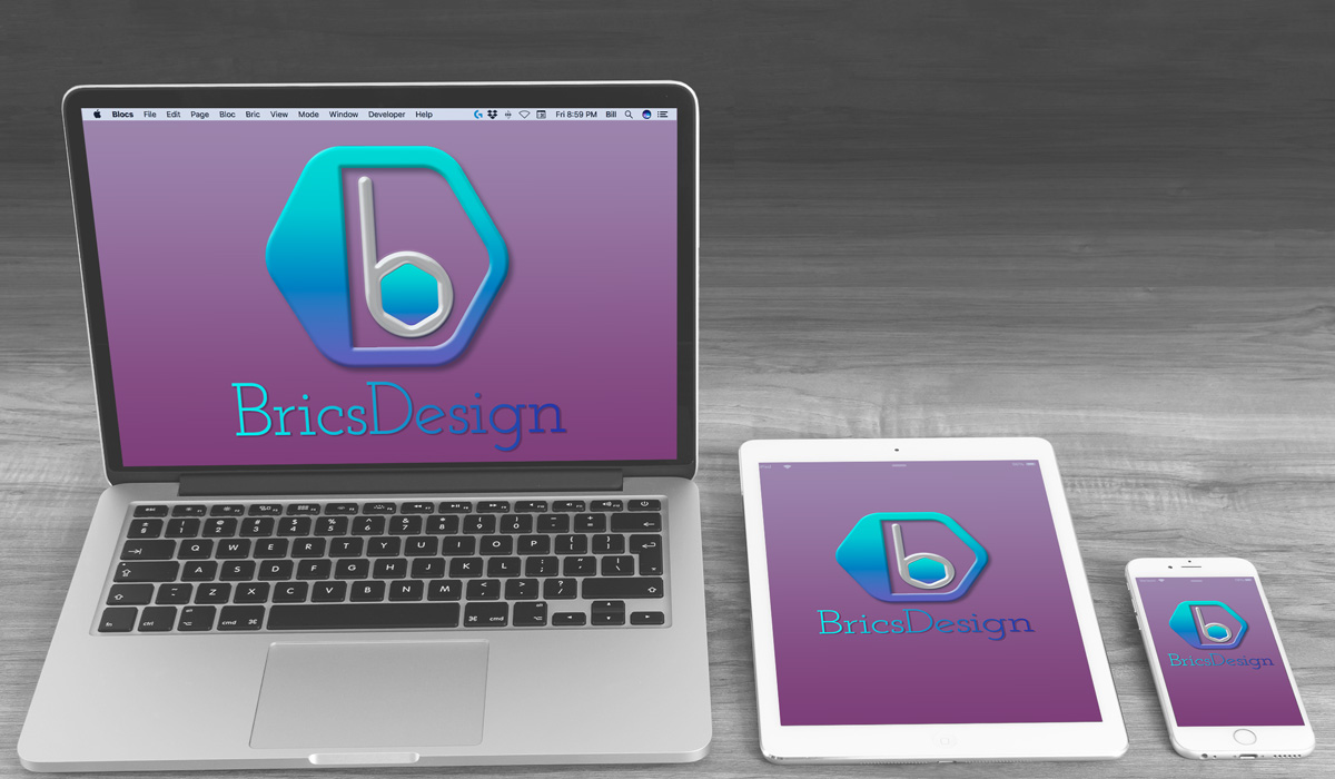 BricsDesign logo in multiple devices