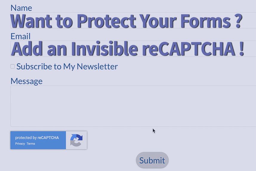 Invisible reCAPTCHA screenshot